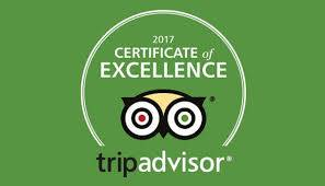 3rd year in a row Tripadvisor Certficate of Excellence Winner
